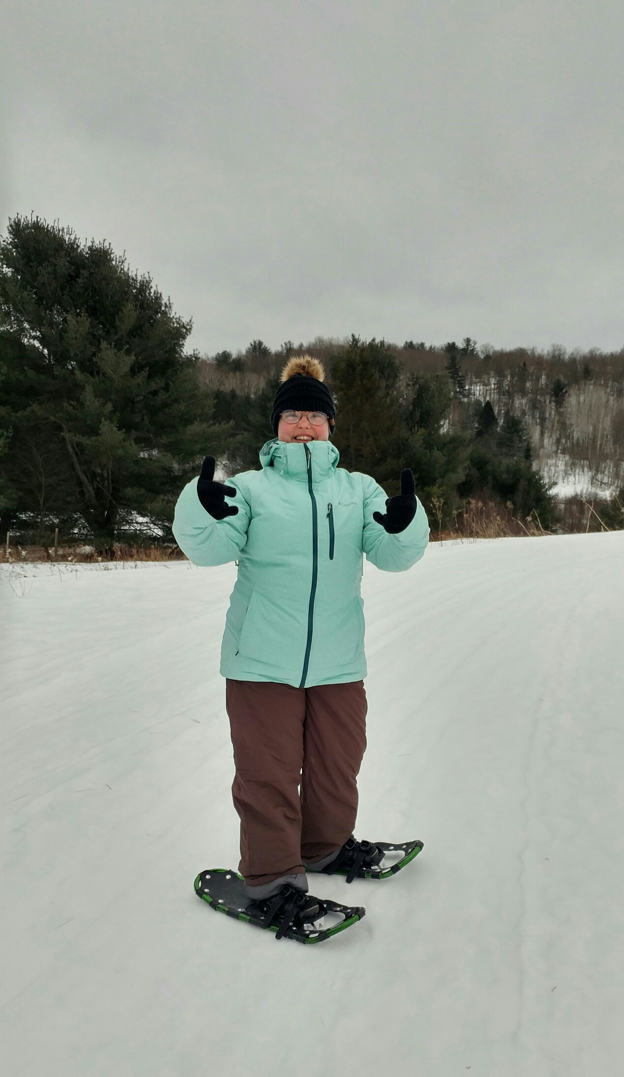 Clara enjoying snowshoeing at Morrison Meadows 3